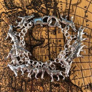 Silver Wolf Charm Bracelet
